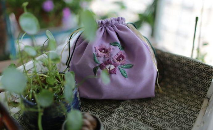 【桔梗花】刺绣收纳袋束口袋化妆包