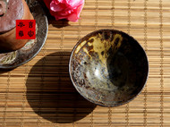 传统龙窑柴烧全手工粗陶斗笠点茶碗