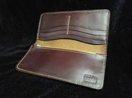 骄阳手工皮具个性定制棕色素面长款钱夹意大利进口皮料纯手工制做