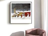 现代油画欧式小众艺术装饰画客厅餐厅复古风景挂画美式沙发背景墙