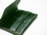 绿色手工牛皮双卡位零钱包