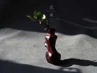 柒言原创-手工可定制-印度小叶紫檀老料-茶席之花罐-构思独特