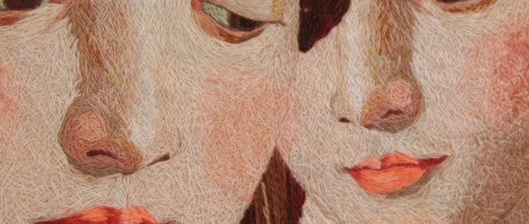 一个女生的二个面孔   艺术家Cecile Davidovic 油画质感的刺绣肖像画