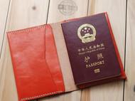 纯手工 进口西瓜红植鞣革牛皮 真皮护照夹护照套护照本