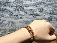 十二生肖925银扣手工编织皮革手链