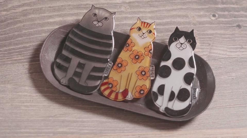 DIY热缩片教程:滴胶与热缩片结合,制作可爱的小猫造型热缩片胸针
