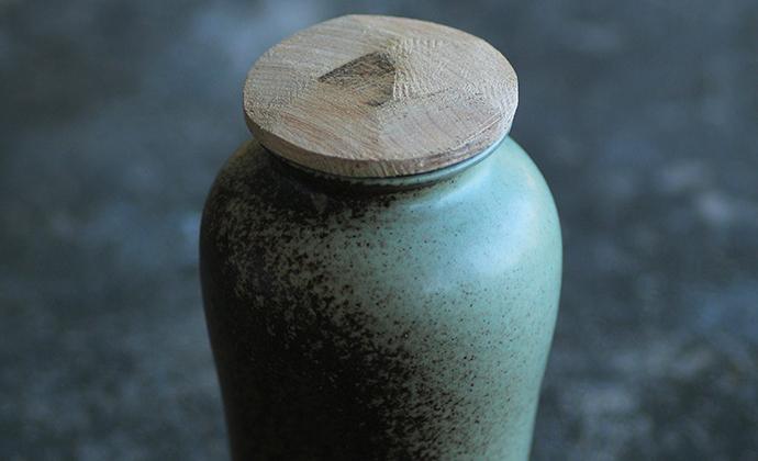 窑变茶仓 手工刀刻木盖茶叶罐 功夫茶具 粗陶醒茶罐