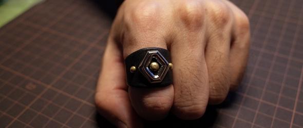 新作了皮戒指,朋克风格