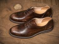 秋季新品复古英伦风意大利雕花休闲皮布洛克真皮男士牛津鞋