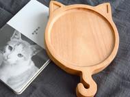 木说 无漆无蜡圣诞鹿二货猫实木餐盘圣诞鹿角木盘子圣诞礼物点心碟木碟子