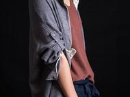 蓝灰色亚麻休闲衬衫-独立设计师品牌[荒腔]