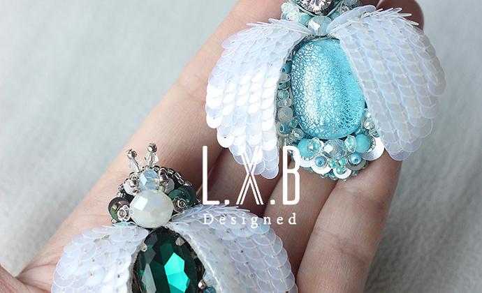 【LXB私人设计】法式刺绣 立体珠绣 昆虫胸针(蓝色款) 定制非现货