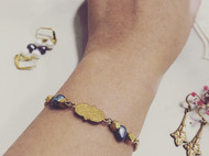 Venus&Felice 貴族世家—黃銅紋飾珍珠手鏈(可訂製長度)