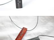 原创项链心跳的节奏檀木质吊坠项链生日礼物