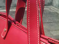 手缝红色牛皮托特包