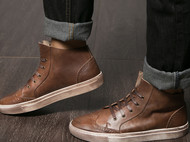 KS秋季新款男士系带板鞋真皮英伦风男鞋休闲布洛克雕花复古高帮鞋