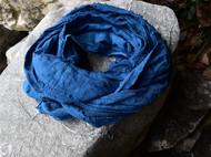 植物染蓝染棉麻围巾