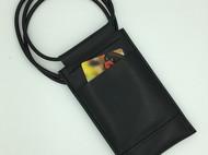 【DIY已打斩皮革材料包】黑色意大利植鞣革头层牛皮简约手机包(iphone6plus适用)