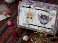猫头鹰带锁实木首饰盒大尺寸 原创设计独一无二 马赛克的手工创意