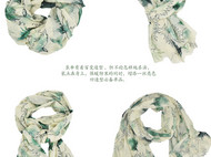 川朴原创设计雪落青松200支纯羊毛围巾
