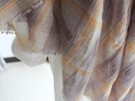 米黄水洗做旧格子围巾/披肩