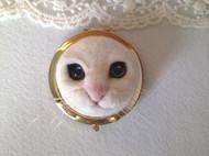 立体猫脸羊毛毡化妆镜 红云朵朵原创手作