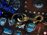 鹿皮手工编织蓝染古布钥匙扣