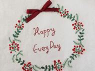 大海手作 手工刺绣圣诞清新花环白色帆布袋
