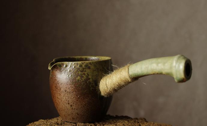 纯手工复古仿古茶具日式禪風茶道細陶茶壶 -侧把公道杯(窑变环保柴烧)