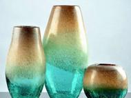 美式乡村玻璃花瓶艺术摆件简约插花瓶子 装饰品透明绿色插花器