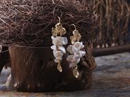 valentina原创设计天然异形珍珠贝壳耳环镀金长款流苏耳饰耳钉女