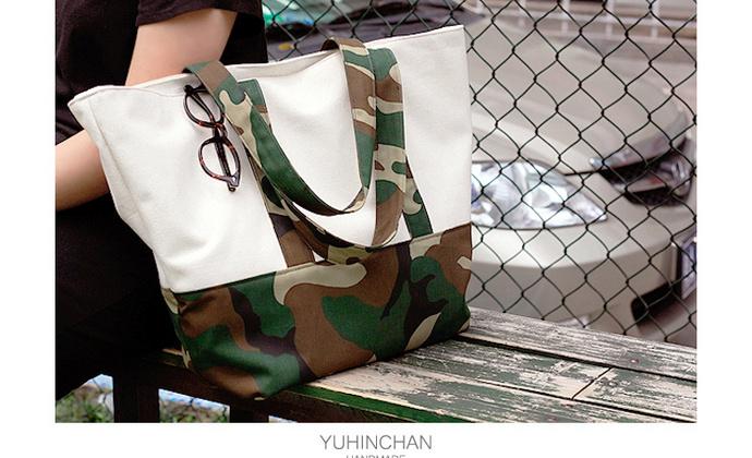 Yuhin Chan YN原创 迷彩 环保帆布袋百搭包帆布包购物袋