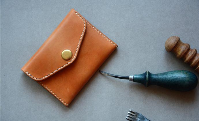 植鞣牛皮 手工缝制染色 名片夹 卡夹