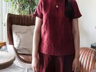 龟裂纹香云纱短袖衬衫/T恤-独立设计师品牌[荒腔]