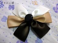 三色纽扣缎带蝴蝶结发夹