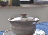 纯手工拉坯手绘粗陶盖碗之荷花