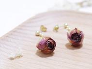 纯手工小清新气质玫瑰花苞耳环