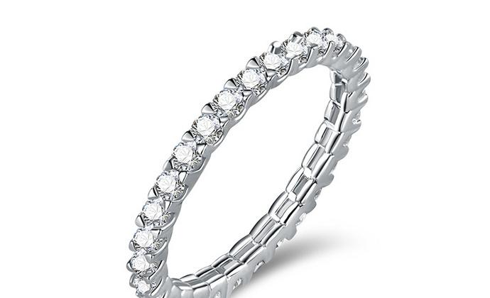CAMBAS刊芭思 简约星光戒指女 银镶晶钻纯银ins时尚个性情侣对戒