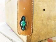 「珍沐、饰界」925银女款真皮饰品森系情侣项链毛衣链 绿玛瑙  豆