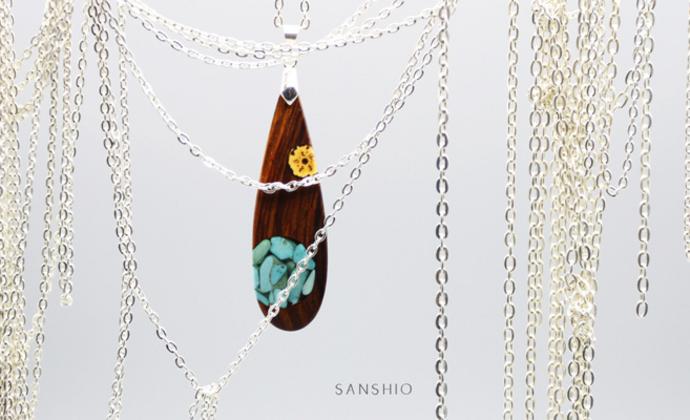 善术SANSHIO原创设计文艺范木吊坠绿松石菩提项链百搭毛衣链民族风包邮