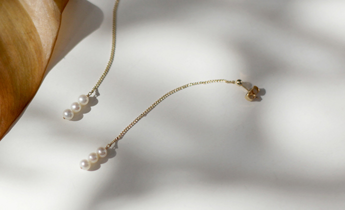 MQ奎妮小姐 天然珍珠14k包金耳钉/耳线