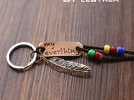 刻字钥匙圈 羽毛琉璃钥匙扣