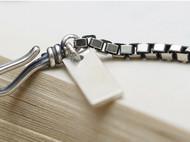 原创手工925银简约欧美男女盒子链方牌手链可刻字男女做旧情侣链