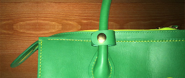 绿色T字托特包