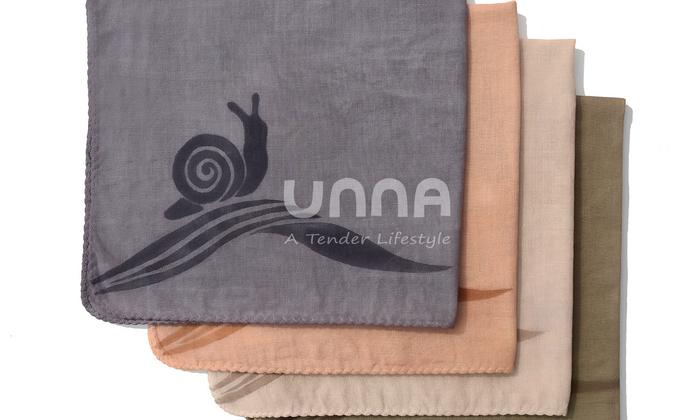 unna酝罗_蜗牛与云_天然植物染 纯棉方巾 草木染 手帕 围巾 宝贝口水巾 46*46