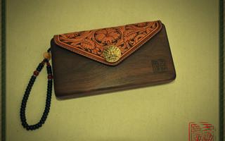 黑胡桃木皮雕手包—木头与皮艺的完美结合!