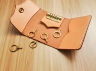 蝴蝶皮革手作 手工原创意多脂植鞣革钥匙包 手工钥匙卡套