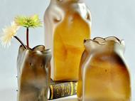 彩色玻璃花瓶咖啡色家居客厅花瓶 不规则插花器创意立体现代摆件