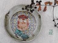 纯手工粗陶 夜鹰 釉上粉彩手绘陶瓷装饰盘 置物盘