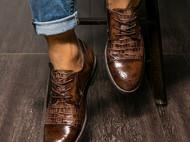 布洛克鞋头拼接复古男鞋潮流鳄鱼纹时尚高档皮鞋男系带真皮